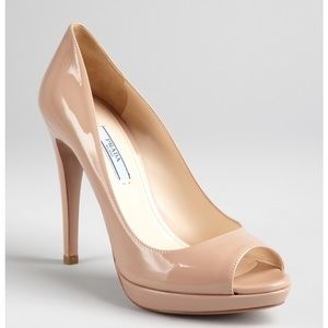 Prada nude patent leather peep toe pumps